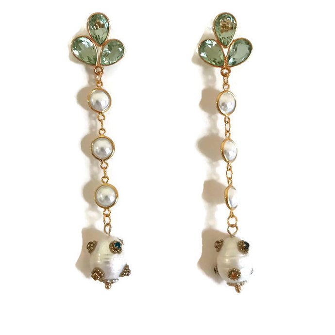 Green Quartz, Pearl & Baroque Pearl Drops