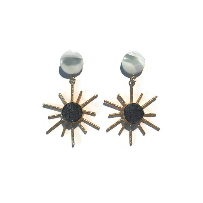 Sol Earrings - Black Druzy
