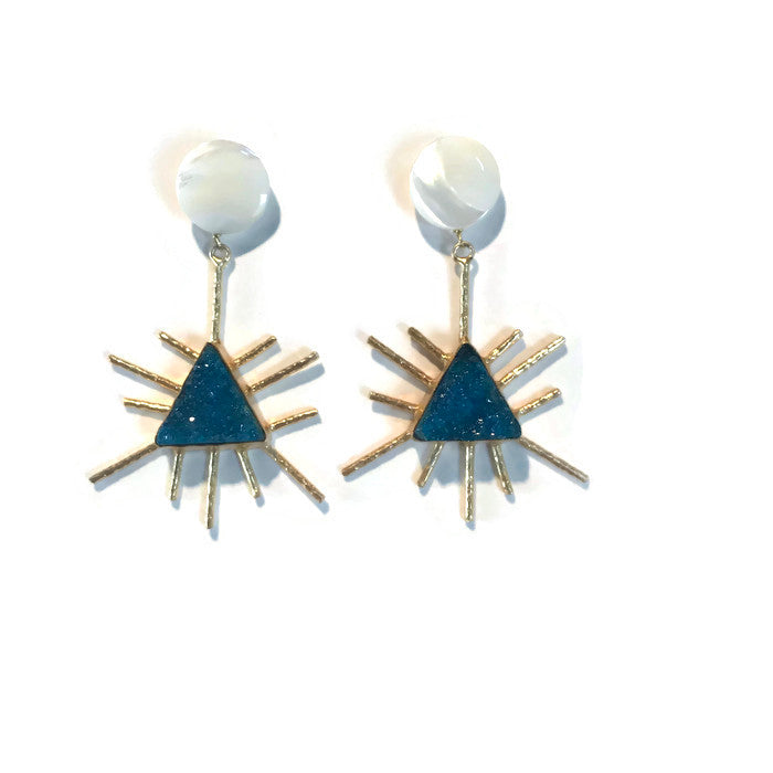 Sol Earrings - Blue Druzy