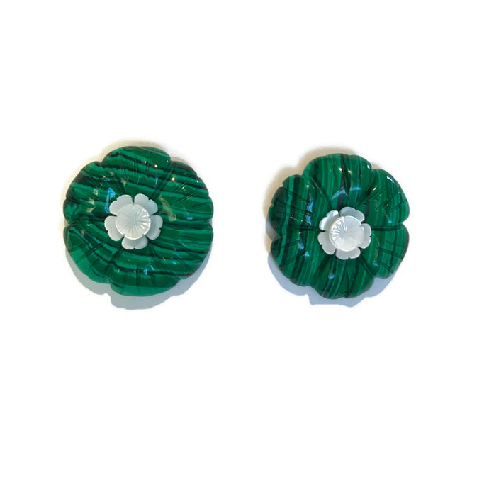 Fleur Earrings - Malachite