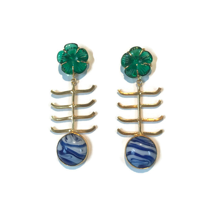 Green & Blue Marbled Earrings
