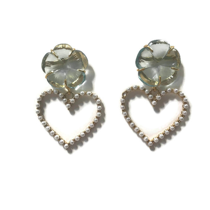 Aquamarine Heart Earrings