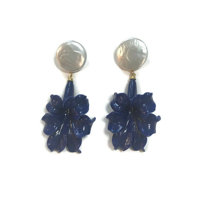 Lily Earrings - Lapis