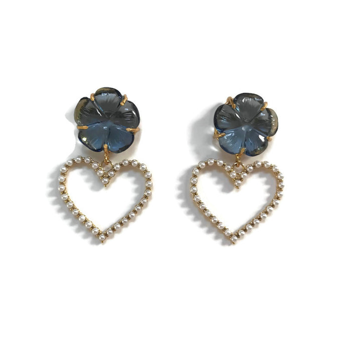 London Blue Heart Earrings