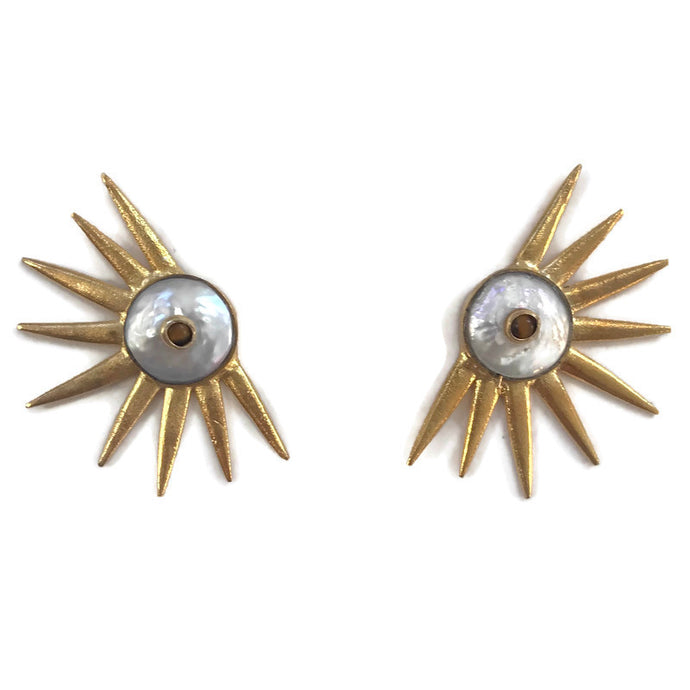 Sol Studs - Pearl & Tiger Eye