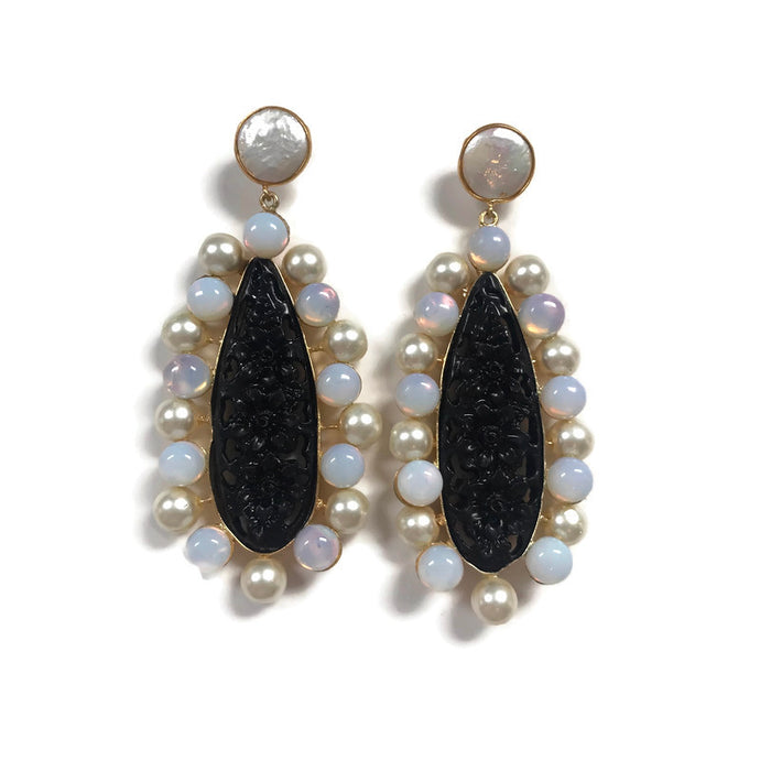 Black, Pearl & Opal Preppy statement earrings from Cass Dickson
