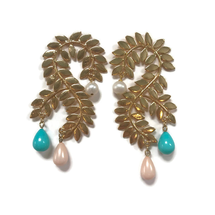 pearl, turquoise, & pink opal statement earrings from Cass Dickson