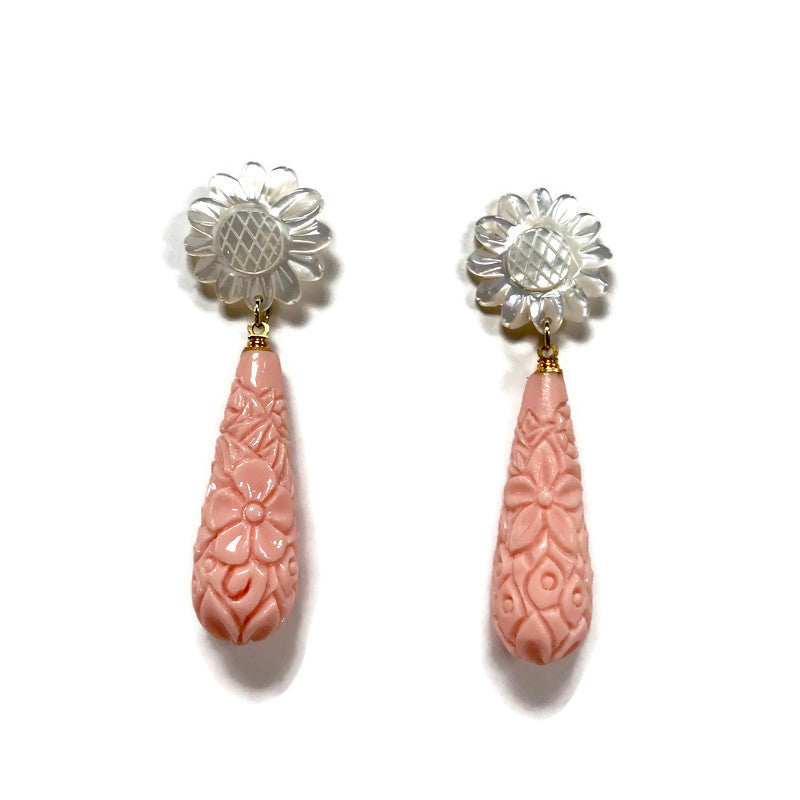 Carved coral teardrop statement earrings from Cass Dickson