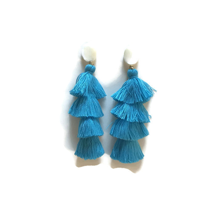 boho tiered tassels turquoise