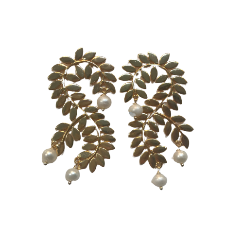 Pearl & Gold Vine Earrings