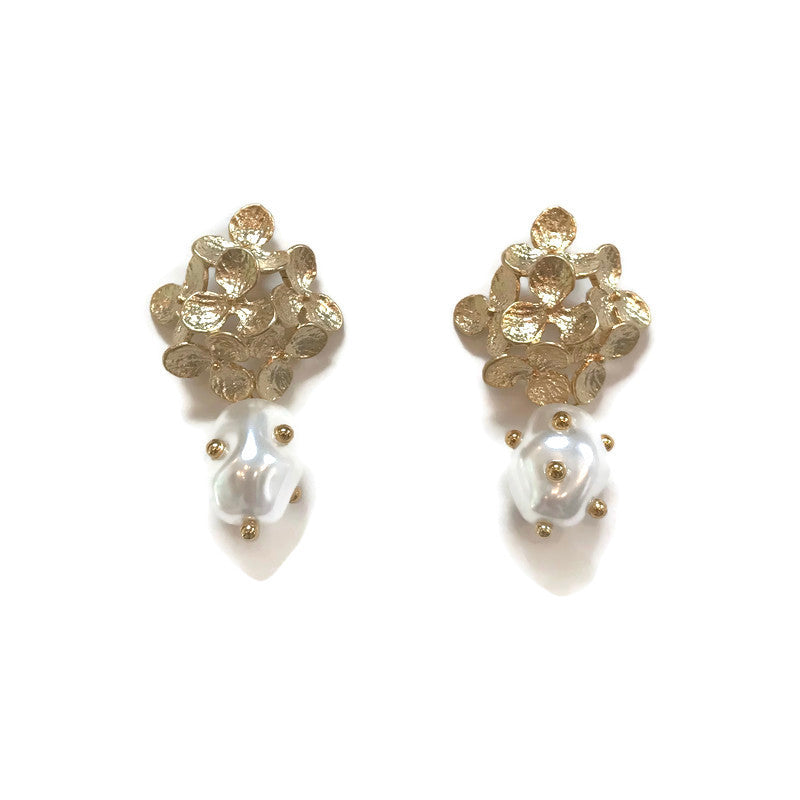 Gold Hydrangea and Pearl Earrings