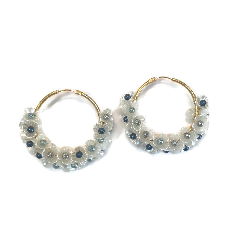 blue and white mother of pearl gold hoop earrings