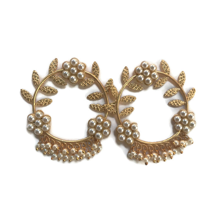 Gold Vine and pearl statement hoop earrings