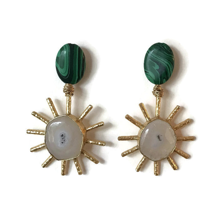 Sol Earrings - Malachite