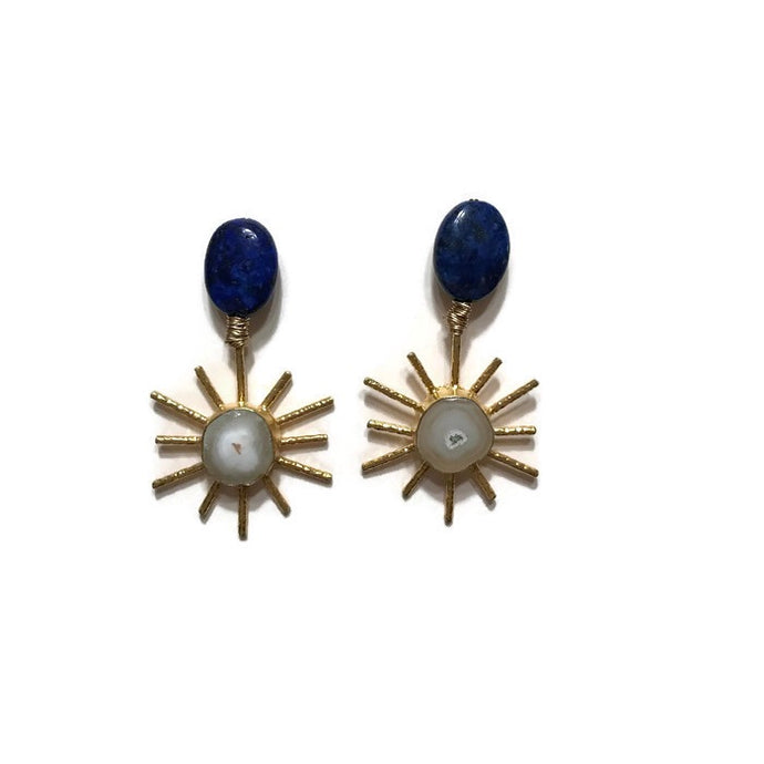 lapis druzy gold sol earrings statement