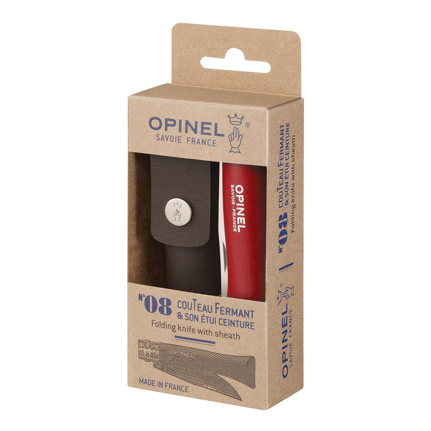 Opinel Stainless No8 - Red w/ Sheath