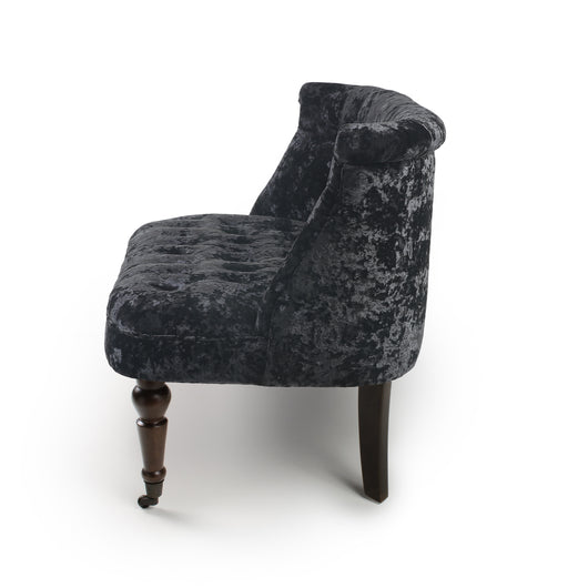 Crushed Velvet Small Sofa Chair Black Or Silver Relicstore