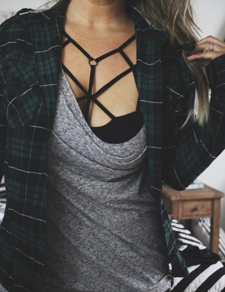 Caged Strappy Deep-V Bralette