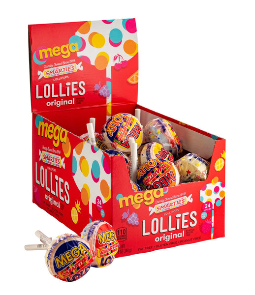 Smarties<sup>®</sup> Mega Lollies <span>in a box, 24 individually wrapped lollies per box, case of 16 boxes</span>