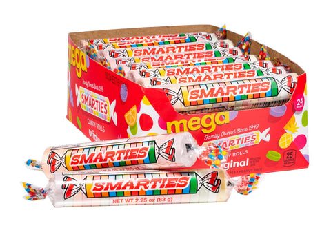 Mega Smarties<sup>®</sup> rolls <span>in a box, roll weight = 2.25 ounces, 24 rolls per box, case of 12 boxes</span>