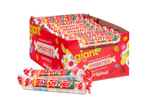 Giant Smarties<sup>®</sup> <span>in a box, 36 rolls per box, case of 16 boxes</span>