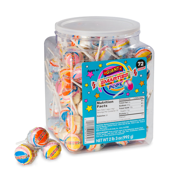 Giant Smarties<sup>®</sup> Pops, 72 individually wrapped pops per jar, case of 6 jars