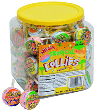 Smarties<sup>®</sup> Mega Tropical Lollies <span>in a jar, 60 individually wrapped lollies per jar, case of 6 jars</span>