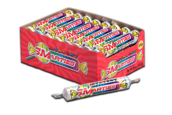 Mystery Smarties<sup>®</sup> rolls <span>in a box, roll weight = 2.25 ounces, 24 rolls per box, case of 12 boxes</span>