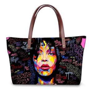 Afro Hair Word Splash Designer Handbag & Wallet Set - clishea.co