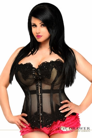 Top Drawer Plus Size Black Mesh Net Beaded Steel Boned Corset