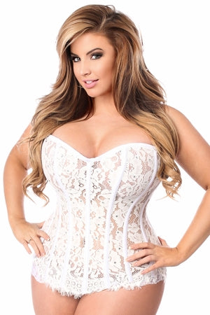 Top Drawer White Lace Steel Boned Corset w/Rhinestones