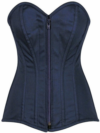 Top Drawer Steel Boned Navy Blue Cotton Overbust Corset