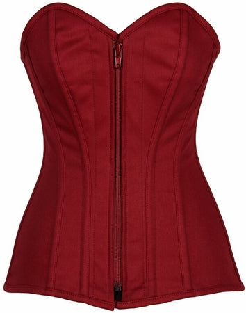Top Drawer Steel Boned Wine Cotton Overbust Corset