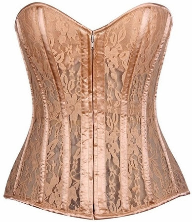 Top Drawer Steel Boned Sheer Lace Padded Cup Corset
