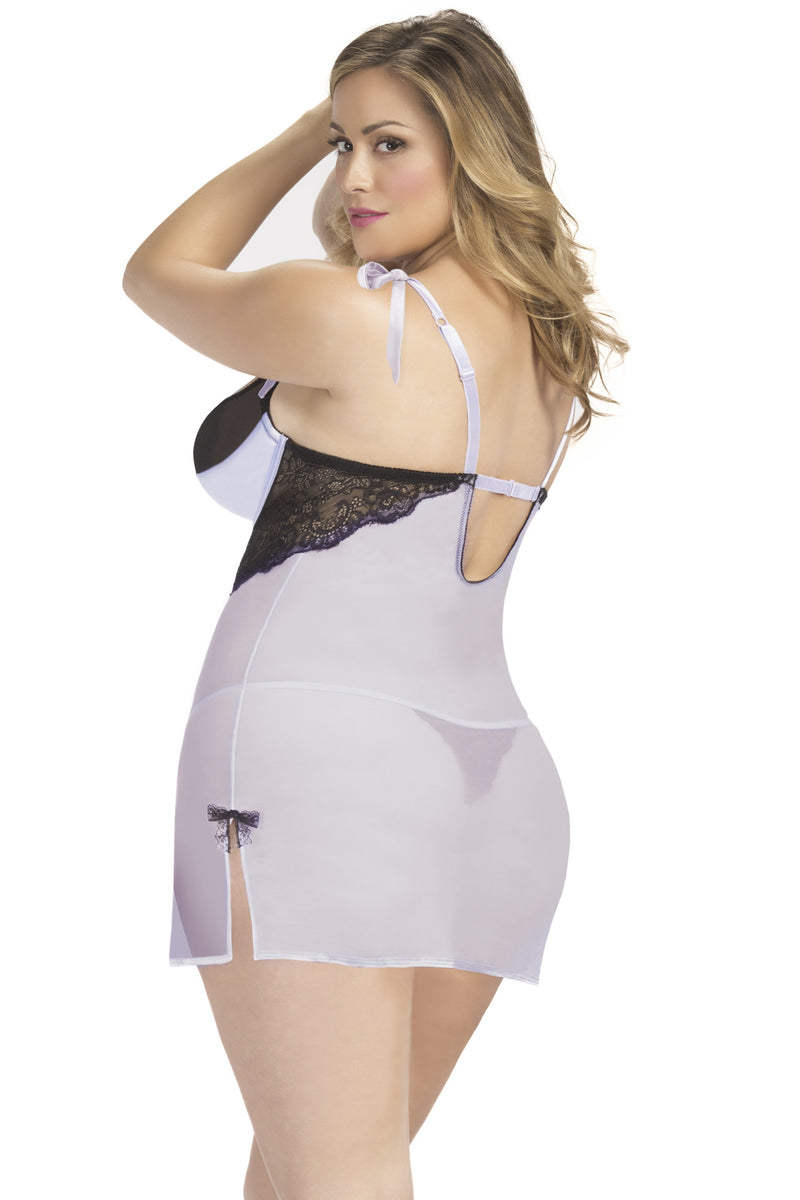 Lavender Chemise with Satin Cups & G-String