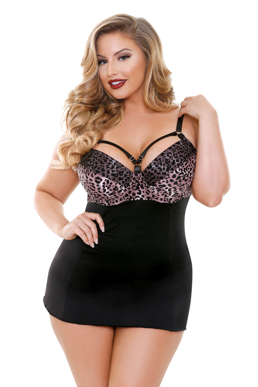 Josephine Cutout Molded Leopard Print Chemise with G-string