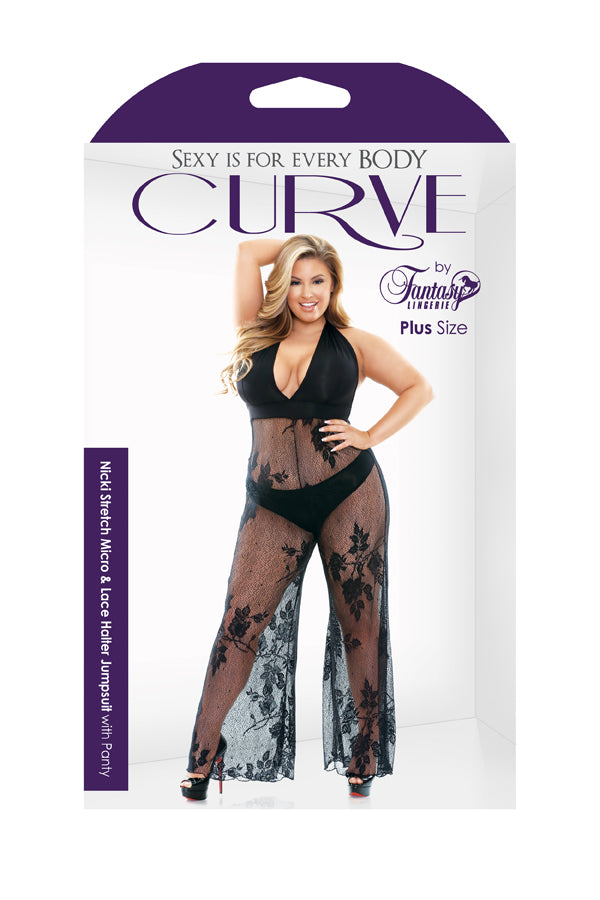 Nicki Stretch Micro & Lace Halter Jumpsuit with Panty