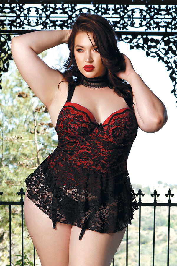 Beverley Skirted Bustier with Lace Overlay and Panty