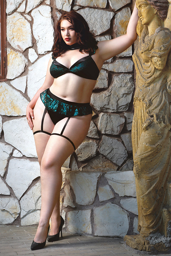 Shades of Envy Ruffled Metallic Lace Bra and Matching Panty