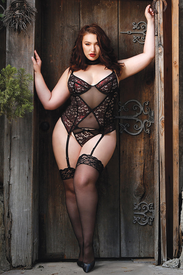 111d49e4e8 Shadow Kiss Metallic Lace Bustier with Garters and Panty