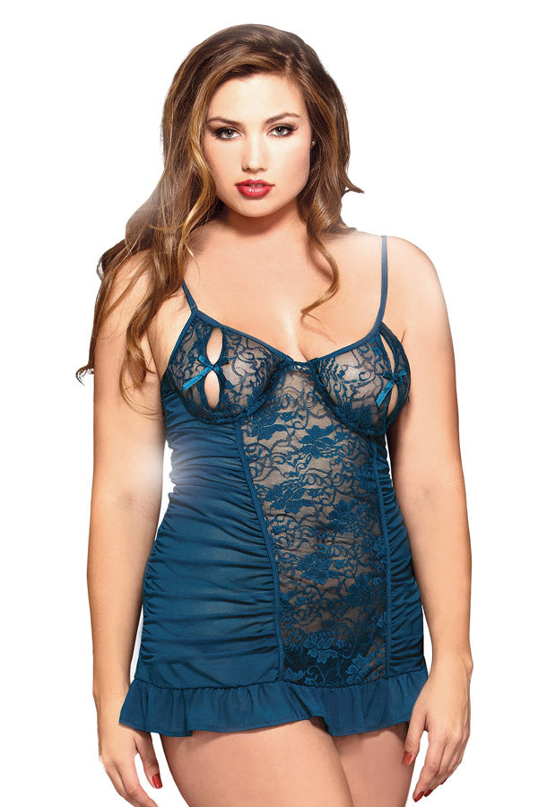Stella Underwire Split Cup Chemise with Shirred Sides & G-string