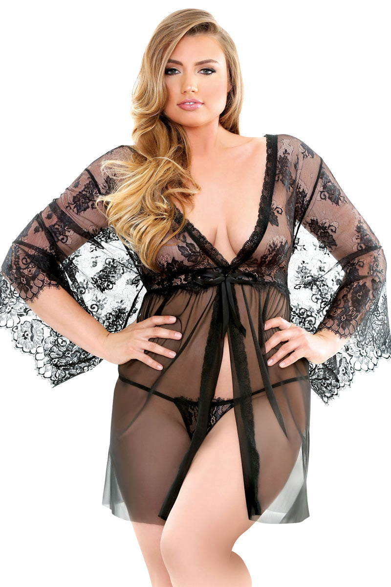 Courtney Lace Robe & G-String
