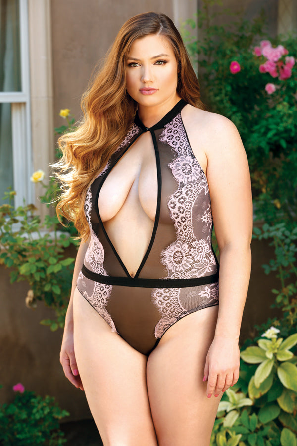 Brigitte Lace Overlay Teddy with Keyhole Front