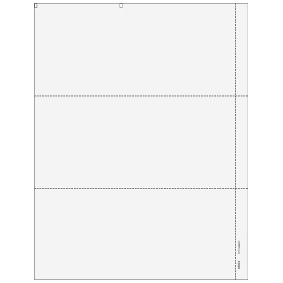"3up Blank Laser Paper with 1/2"" perf"