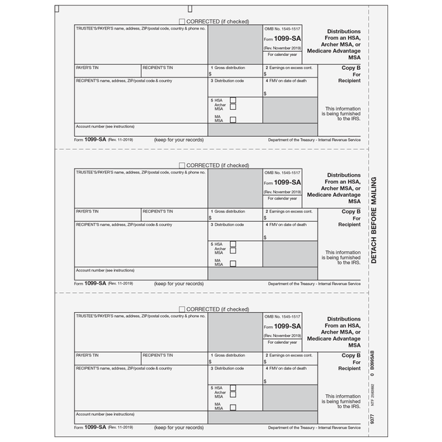 1099 Preprinted Laser Forms Tagged 1099 Sa Dist From Hsa Tax