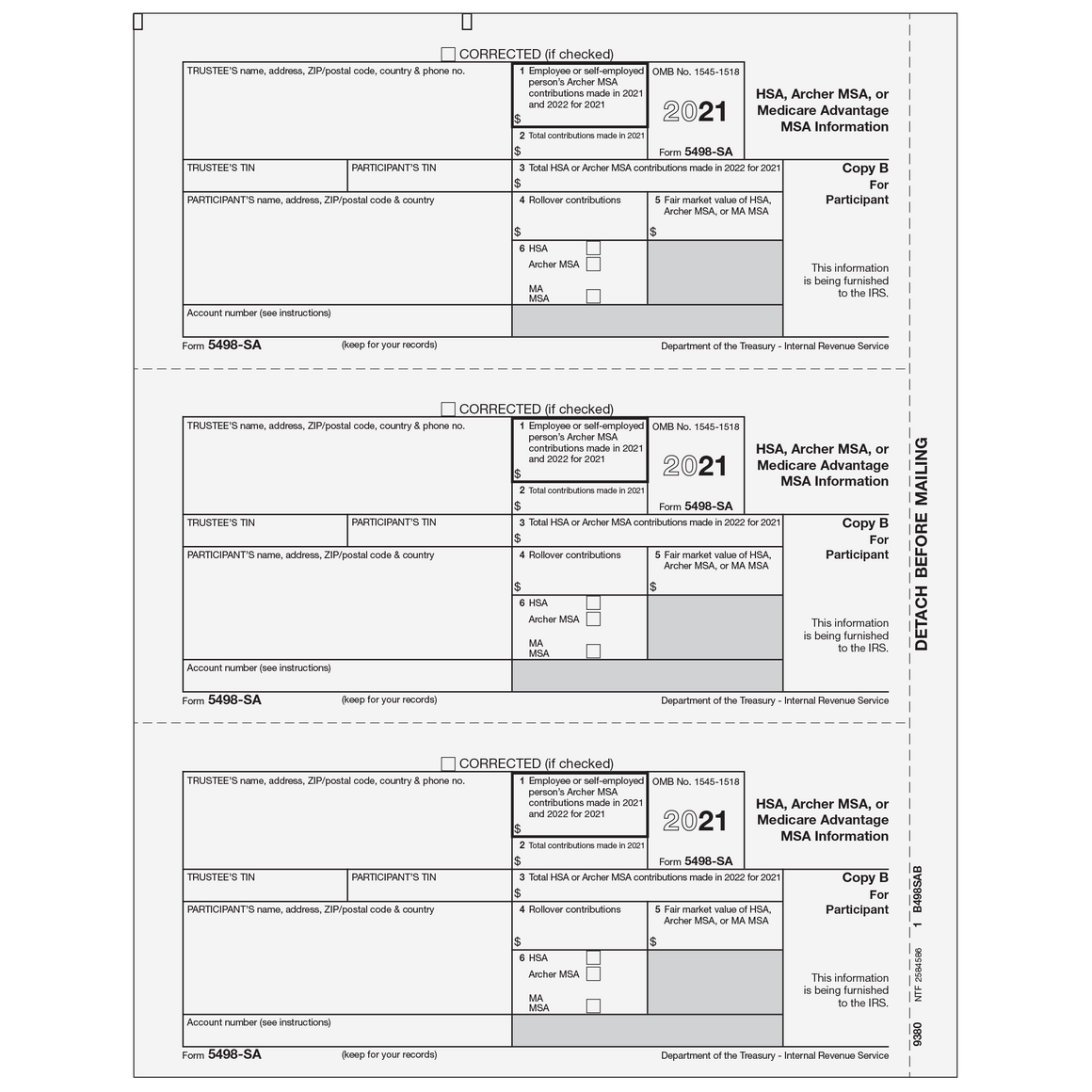 1099 preprinted laser forms tax form depot 5498 sa participant copy b falaconquin