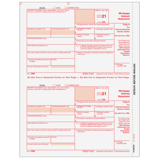 1099 Preprinted Laser Forms Tagged 1098 Mortgage Interest