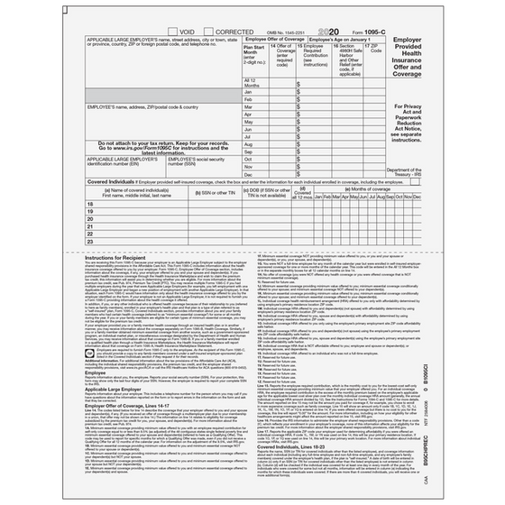 1095-C Half Page Recipient Form w/ Instructions on Front