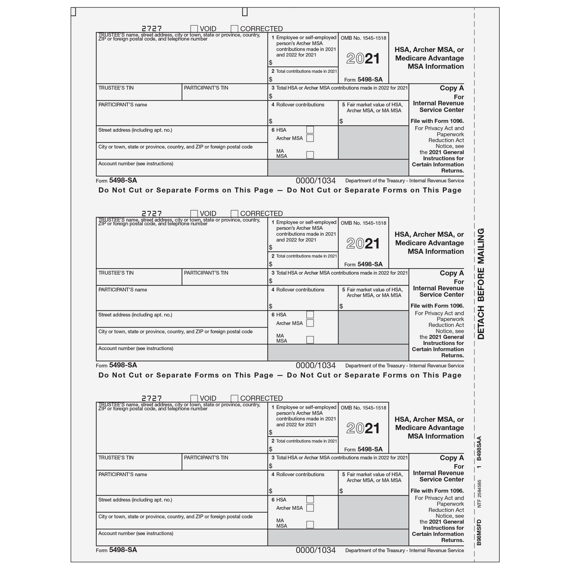 1099 preprinted laser forms tax form depot 5498 sa federal copy a falaconquin