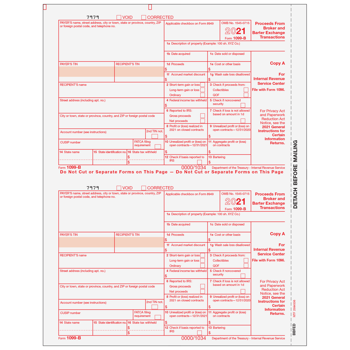 1099 preprinted laser forms tagged 1099 b proceeds from broker 1099 b federal copy a falaconquin
